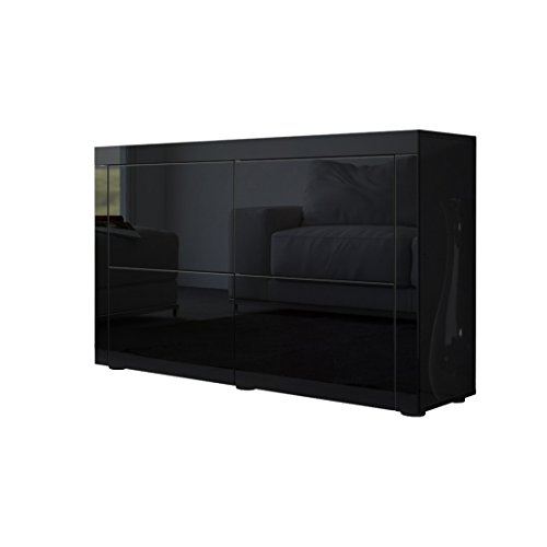kommode sideboard la paz v2 in schwarz hochglanz schwarz. Black Bedroom Furniture Sets. Home Design Ideas