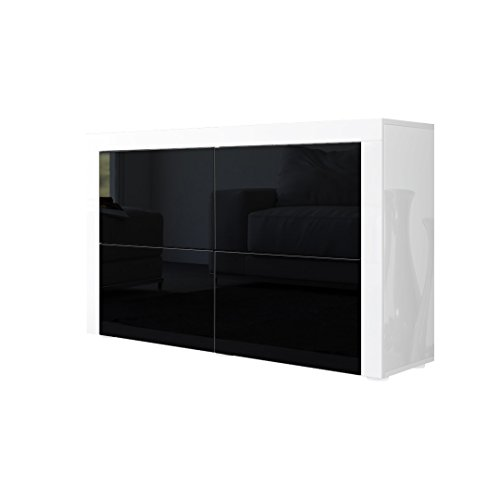 kommode sideboard la paz v2 in wei hochglanz schwarz. Black Bedroom Furniture Sets. Home Design Ideas