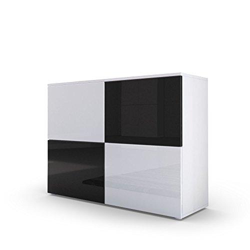kommode sideboard rova in wei matt wei hochglanz schwarz hochglanz m bel24. Black Bedroom Furniture Sets. Home Design Ideas