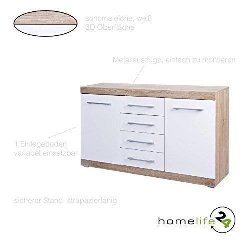 Kommode Sideboard Schubladenkommode Highboard Schrank Anrichte Mehrzweckschrank mit 2 Türen und 4 Schubladen 155x87x40cm Sonoma Eiche weiß