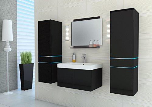 komplett badezimmer mbel set schwarz hochglanz badmbel. Black Bedroom Furniture Sets. Home Design Ideas