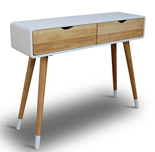Konsolentisch-Holz-Wei-100-x-30-x-80-cm-Konsole-Beistelltisch-Schrnckchen-Kommode-Anrichte-Modern-Skandinavisch-Retro-Design-Look-NEU-0
