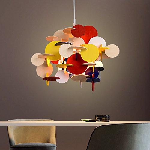 Kreative Persönlichkeit Fashion Kronleuchter Farbe Holz Esszimmer Anhänger Hängende Lampe Leuchte-1 Licht