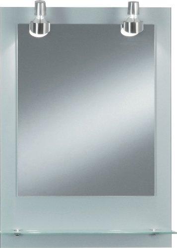 Kristall-Form 99990199 Pascal Lichtspiegel auf Glas, Rückwand Glas, mit Glasablage, 2 Hochvolt-Halogenleuchten, 230V, 50W, 580 lm, Schutzklasse II, IP 20, TÃœV geprüft, inklusive lose beigelegter Aufhängung, silber