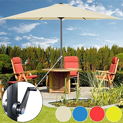 Kurbelsonnenschirm Ø300cm mit Kurbel + Dachhaube - Sonnenschirm Marktschirm Gartenschirm