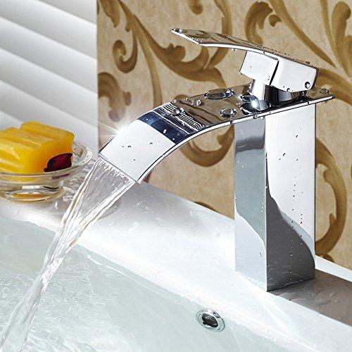 Kusun-Elegant-Einhebel-Mischbatterie-Wasserhahn-Armatur-Waschtischarmatur-Wasserfall-Einhandmischer-fr-Bad-Badezimmer-Waschbecken-KT025M-0