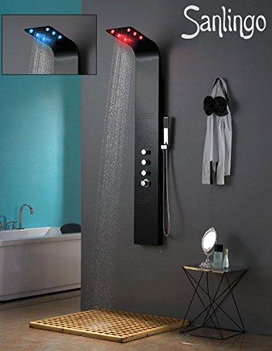 LED Aluminium Duschpaneel Duschsäule Regendusche Massage Matt Schwarz Sanlingo