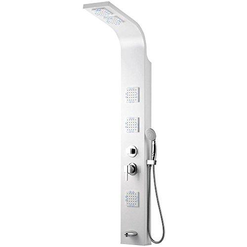 LED Aluminium Duschpaneel Duschsäule Regendusche Massage Weiss Weiß Glanz Wanneneinlauf Sanlingo