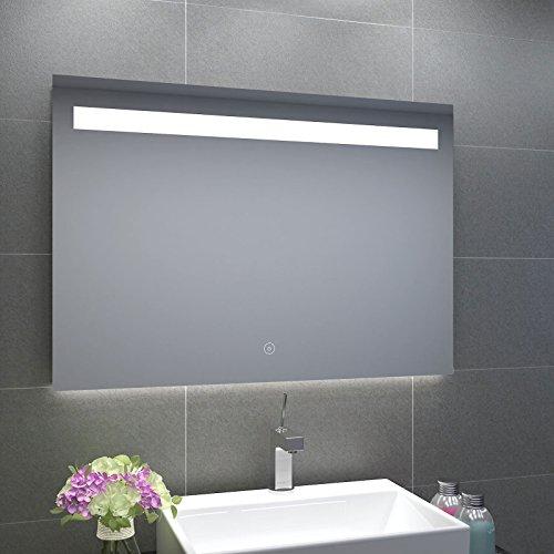 LED Badezimmerspiegel mit energiesparender LED-Beleuchtung warmweiß IP44 [Energieklasse A+] 100x70cm beschlagfrei