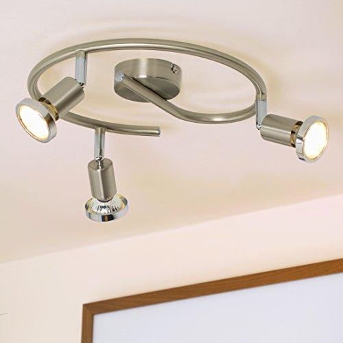 LED Deckenspirale Decken-strahler 3 flammig / Decken-leuchte led / Decken-Spot / Deckenlampe Schlafzimmer / Deckenlampe Wohnzimmer / / GU10 / 3 x 3 Watt / 3 x 250 Lumen / schwenkbar / inkl. Chromring / matt-nickel