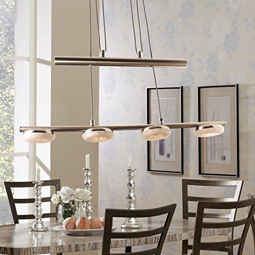 LED Hängelampe Höhenverstellbar Kronleuchte Hängeleuchte Deckenlampe Esszimmer Wohnzimmer 4035-4C Chrom 20W Warmweiss (A++)