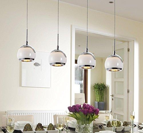 LED Hängelampe Höhenverstellbar Kronleuchte Hängeleuchte Deckenlampe Esszimmer Wohnzimmer TZ-4338-04A Chrom 24W Warmweiss (A++)