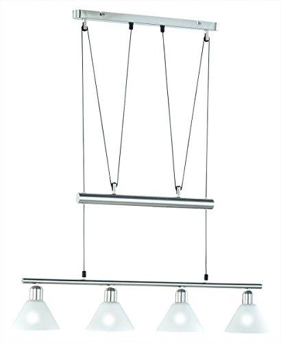 LED Pendelleuchte 4x4W hell höhenverstellbar 80 - 180 cm London 2700k 80cm nickel matt / Glas weiß