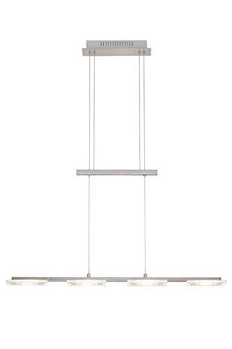 LED Pendelleuchte, Pendellampe, Hängelampe, 4 x LED Modul, 4,5 Watt, 400 Lumen, höhenverstellbar, matt-nickel