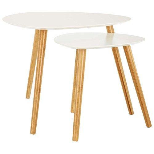LOMOS® No.2 Beistelltisch (2er-Set) in weiß aus Holz im modernen Retro-Look