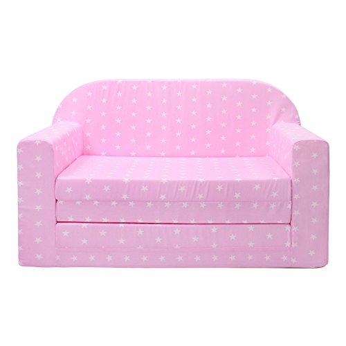 LULANDO-Classic-Kindersofa-Kindercouch-Kindersessel-Sofa-Bettfunktion-Kindermbel-zum-Schlafen-und-Spielen-Sternchen-0