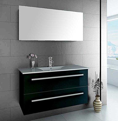 LUXUS4HOME-Design-Badmbel-Set-Serpia-Single-Schwarz-Hochglanz-Waschtisch-90cm-inkl-Armatur-und-Spiegel-Badezimmermbel-Set-mit-Keramik-Waschbecken-0