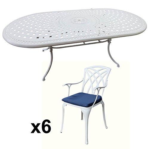 Lazy-Susan-CATHERINE-210-x-105-cm-Ovaler-Gartentisch-mit-6-Sthlen-Gartenmbel-Set-aus-Metall-Wei-APRIL-Sthle-Blaue-Kissen-0