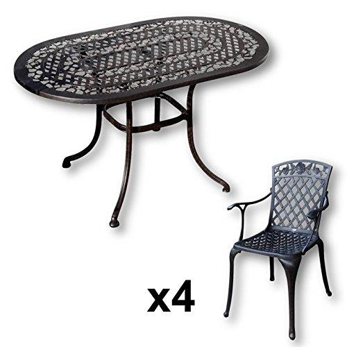Lazy-Susan-ELISE-136-x-81-cm-Ovaler-Gartentisch-mit-4-Sthlen-Gartenmbel-Set-aus-Metall-Antik-Bronze-ROSE-Sthle-0