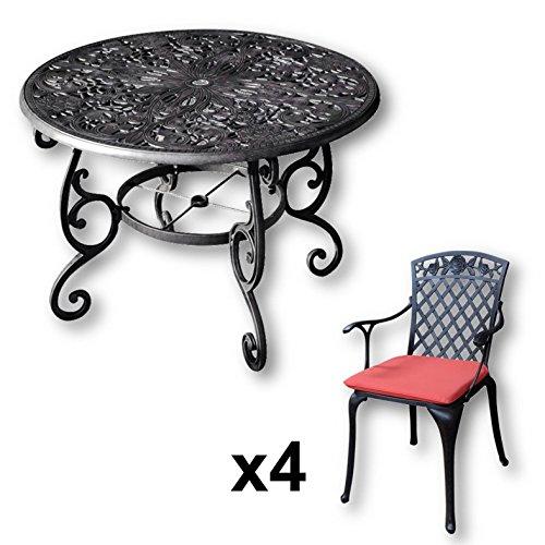 Lazy-Susan-FLORA-103-cm-Runder-Gartentisch-mit-4-Sthlen-Gartenmbel-Set-aus-Metall-Antik-Bronze-ROSE-Sthle-Terracotta-Kissen-0