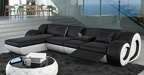 ledersofa nesta l form mit beleuchtung m bel24. Black Bedroom Furniture Sets. Home Design Ideas