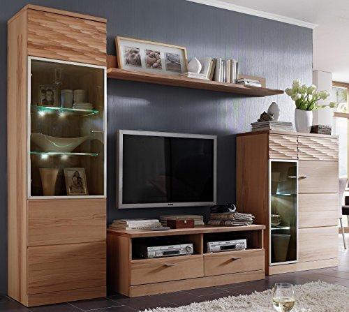 lieferung erfolgt aufgebaut 3 3 2 wohnprog k27 sch ne wohnwand kernbuche ge lt. Black Bedroom Furniture Sets. Home Design Ideas