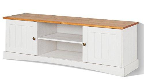 LifeStyleDesign 551062 Lowboard EMMA, 45 x 40 x 140 cm, kiefer, weiß honig
