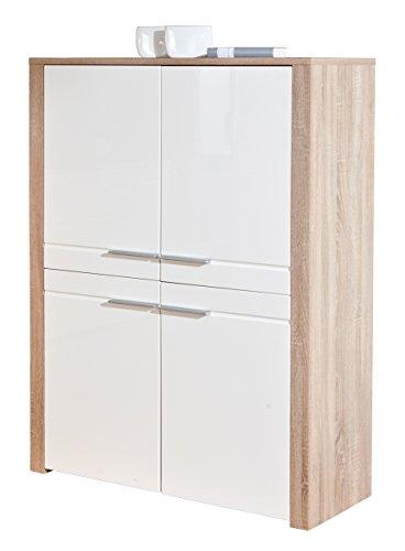 Links 19500380 Kommode weiß hochglanz Highboard Wohnzimmer Wohnkommode Sonoma Eiche 4-türig NEU