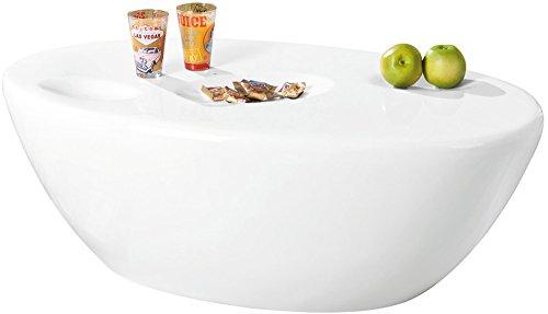 Links 20801320 Couchtisch weiß hochglanz Beistelltisch Wohnzimmer Tisch mit Ablagemulden 108x60