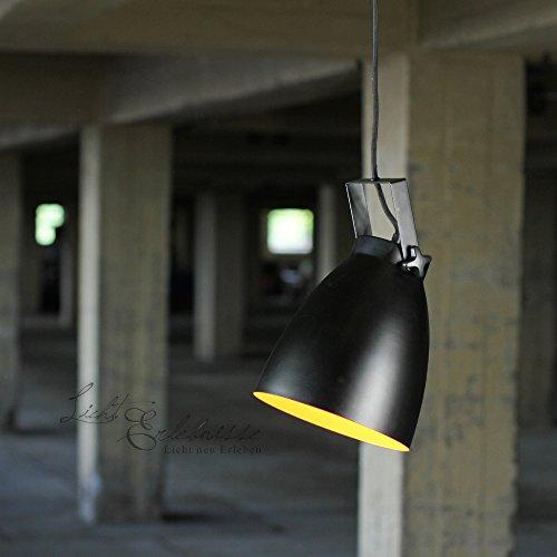 Loft Hängelampe schwarz-gold Pendelleuchte Ø 21cm Pendellampe Industrieleuchten Industrielampen