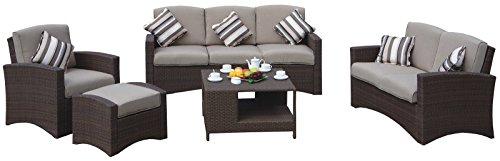 Lounge Loungegruppe Gartensitzgruppe mit Tisch und Kissen Polyrattan braun