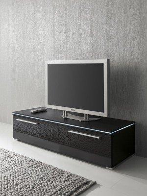 Lowboard TV-Schrank 120 cm schwarz Fronten hochglanz, optional LED-Beleuchtung, Beleuchtung:Beleuchtung Blau