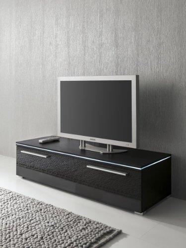 Lowboard TV-Schrank 150 cm schwarz Fronten hochglanz, optional LED-Beleuchtung, Beleuchtung:ohne Beleuchtung