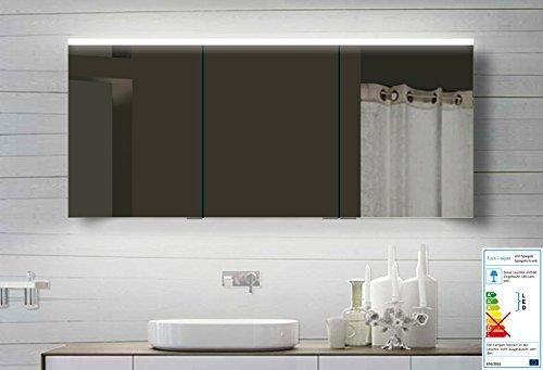 Lux-aqua Alu Badezimmerspiegelschrank Bad Spiegelschrank mit Led Beleuchtung 160x70 cm