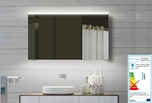 lux aqua alu badezimmerspiegelschrank mit beleuchtung led ydc 120 70 cm m bel24. Black Bedroom Furniture Sets. Home Design Ideas