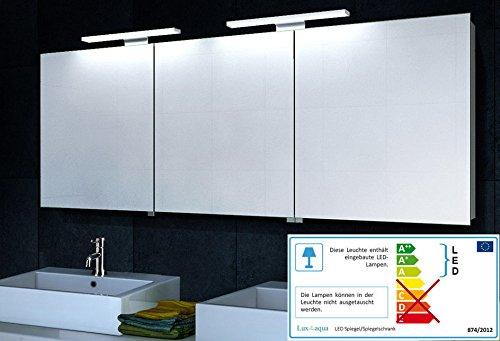 Lux-aqua Aluminium Spiegelschrank mit LED Beleuchtung 160x60cm