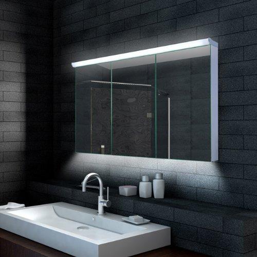 Lux-aqua Design Badezimmer Spiegelschrank mit LED Beleuchtung 120 x 70 cm - LMC12070