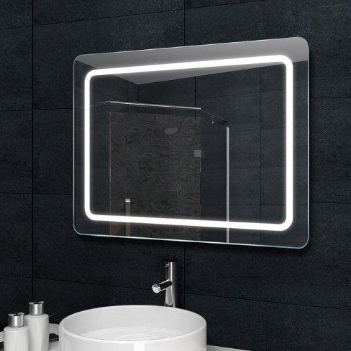 Lux-aqua Design Lichtspiegel Badezimmerspiegel LED Beleuchtung mit 1050 Lumen 80 x 60 cm MF6980