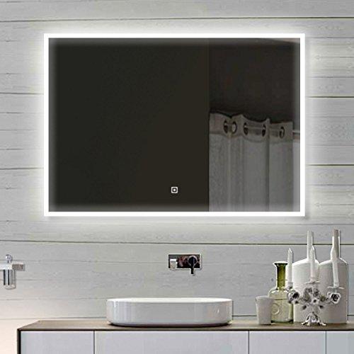 Luxaqua Design Wandspiegel Badezimmerspiegel mit LED TOUCH SCHALTER 100 x 60 cm - SAM100X60