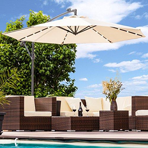 Luxus Sonnenschirm mit LED Beleuchtung Ampelschirm 300 cm Solar Garten Schirm Pavillon