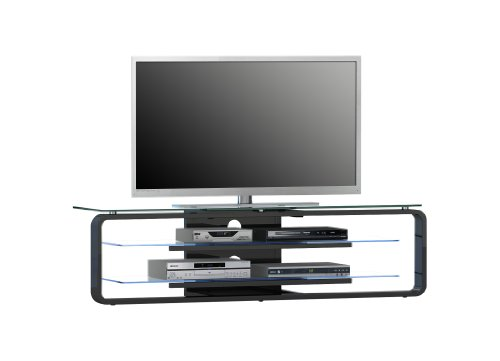 MAJA-Möbel 1631 9947 TV-Rack, schwarz Hochglanz - Klarglas, Abmessungen BxHxT: 138 x 39 x 36 cm, incl. LED-Beleuchtung
