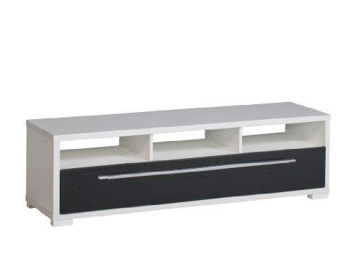 MAJA-Möbel 7645 3547 Lowboard, weiß uni - schwarz Hochglanz, Abmessungen BxHxT: 141,2 x 42 x 40 cm