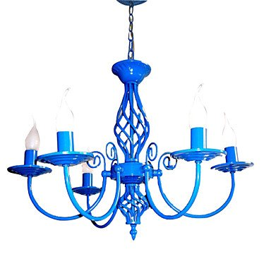 MLA E14x5 Sky Blue Farbe Kronleuchter Moderne Hängelampe für Schlafzimmer Wohnzimmer , 110-120V-White
