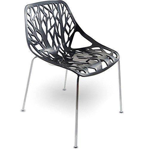MOJO Stuhl Küchenstuhl Plastikstuhl Retro Designer Stühle stapelbar (S10 - schwarz)