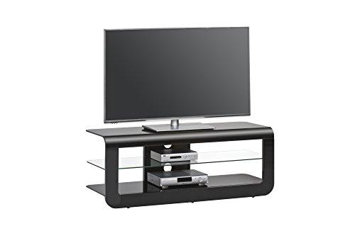 Maja 16444742 TV-Rack, 1.200 x 460 x 450 mm, schwarz Hochglanz / schwarzglas