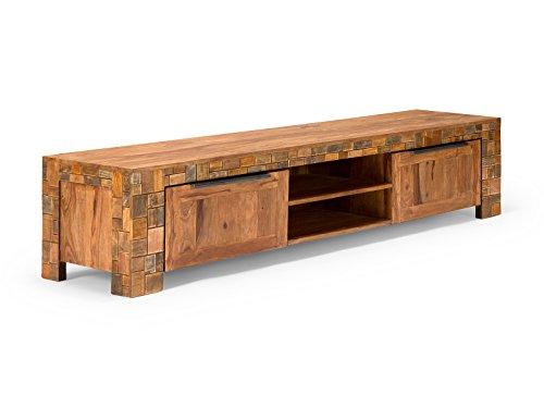 Massivum 10019356 TV-Bank Mayari 2 türig aus massivem Palisander Holz, braun, 48 x 228 x 50 cm