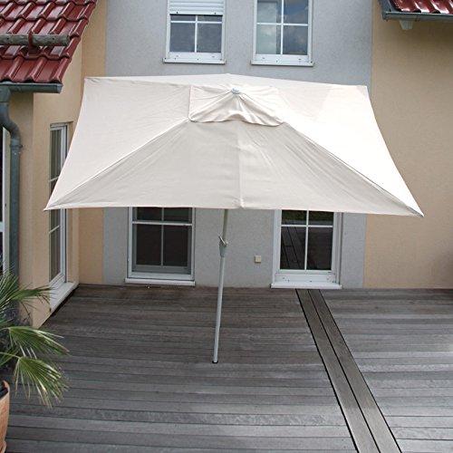 Mendler Alu Sonnenschirm Gartenschirm N23, 2x3m, rechteckig, neigbar, rostfrei ~ creme
