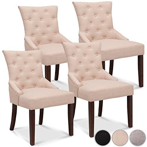 Miadomodo Esszimmerstuhl Hochlehner Stuhl Sitzgruppe Set- und Farbwahl (4-er Set, Beige)