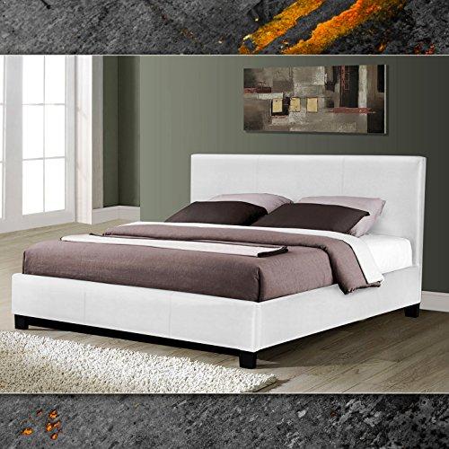Miami Weiss Doppelbett Polsterbett 140x200cm Bettgestell Bett Lattenrost