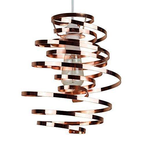 MiniSun - Moderner, spiralförmiger und zeitgenössischer Lampenschirm im Stil zwei Bänder, aus Metall mit einem glänzigen kupferfarbigen Finish - für Hänge- und Pendelleuchte
